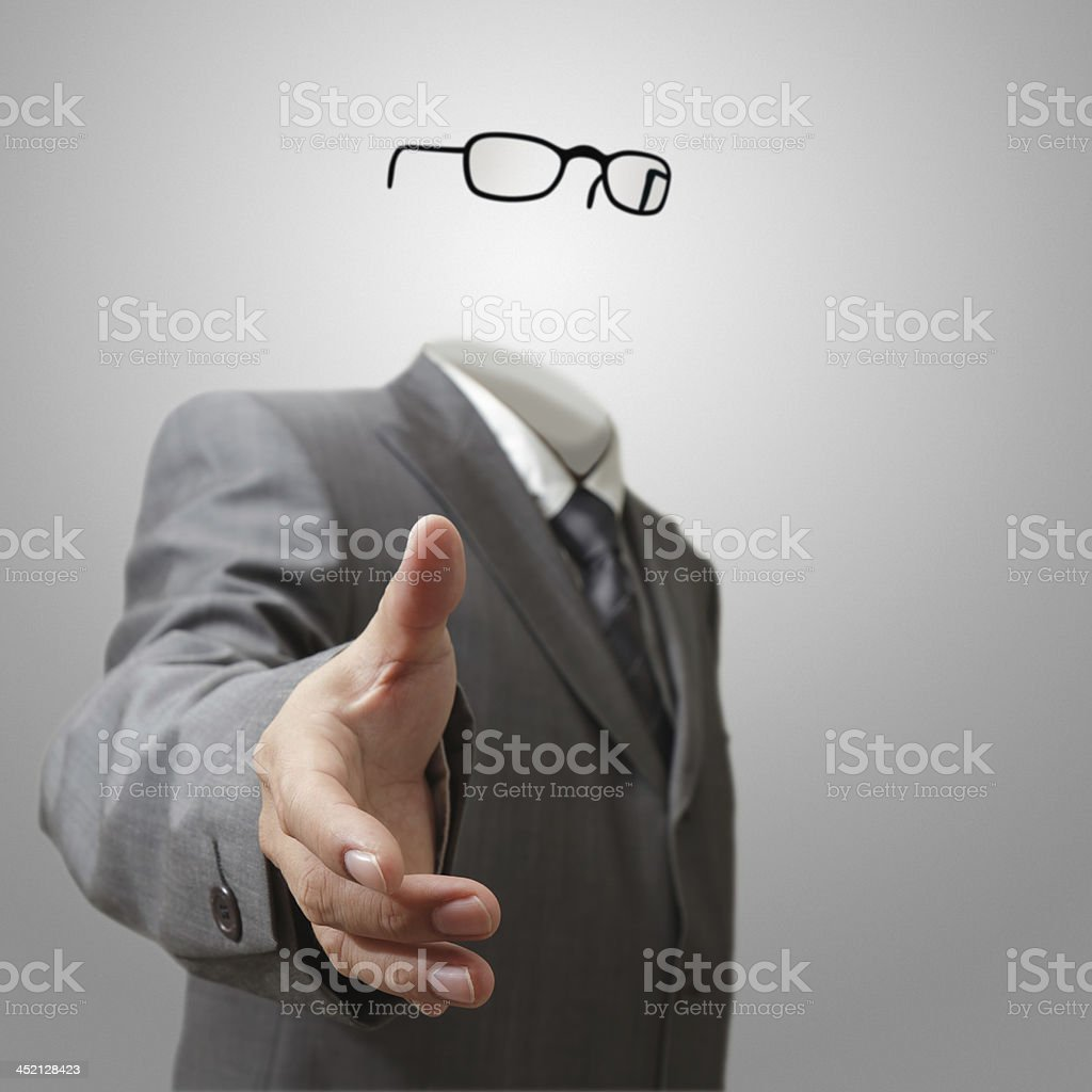 invisible business man offers hand shake stock photo