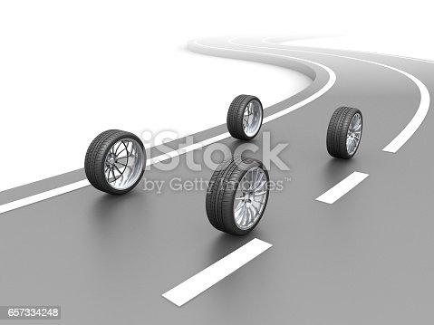 Four tires set illustration on white background.