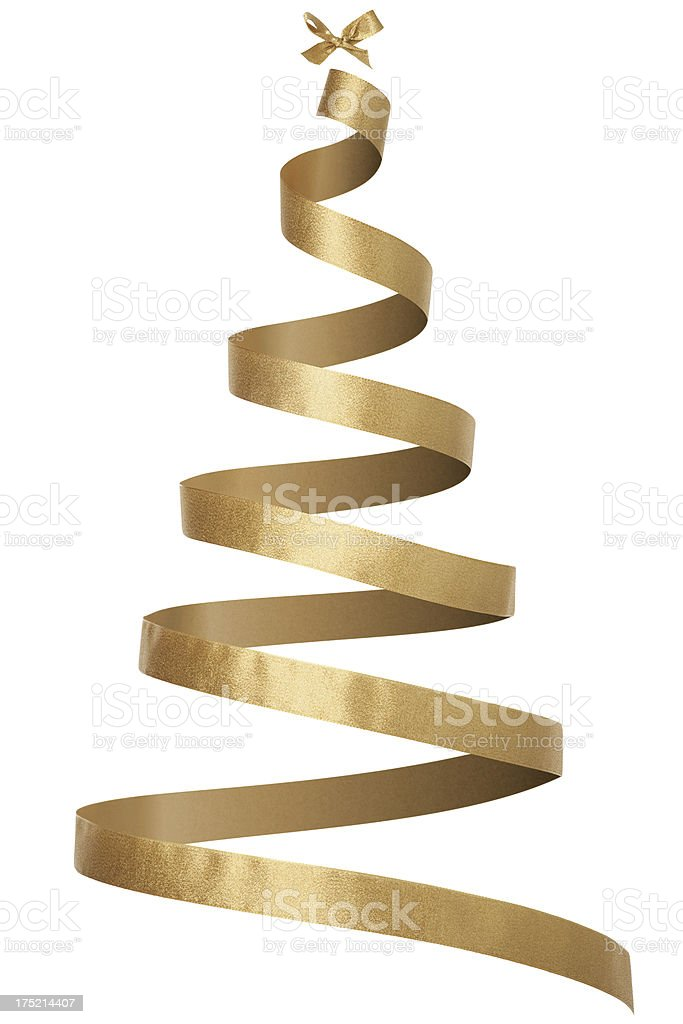 Invisible Christmas Tree with Gold Ribbon royalty-free stock photo