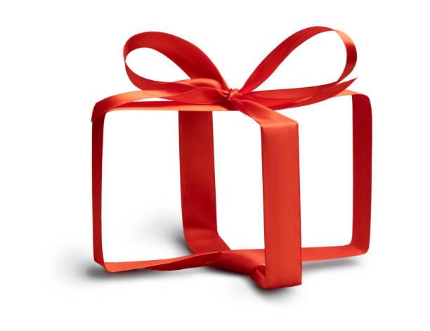 unsichtbares geschenkbox-konzept auf weiß - originelle geburtstagsgeschenke stock-fotos und bilder