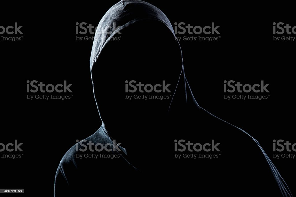 Invisible man in the night darkness stock photo