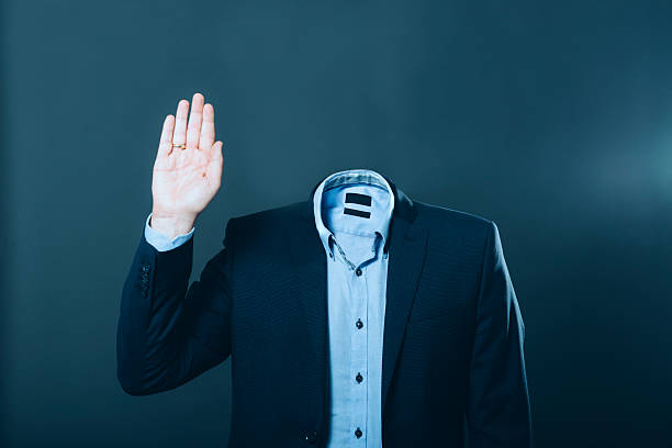 invisible man wearing a suit and waving his hand - 被砍頭 個照片及圖片檔