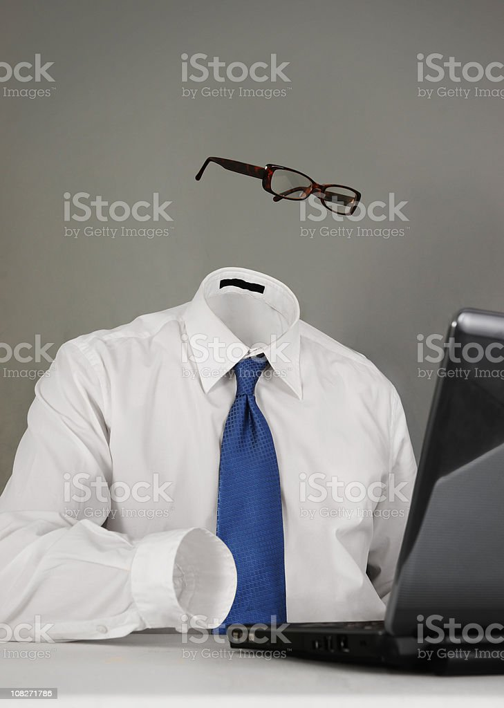 Invisible or Anonymous Man on Laptop stock photo