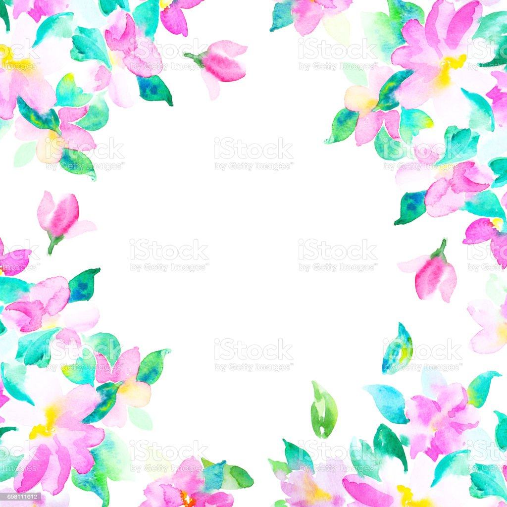 Invitation card for wedding day with watercolor flowers royalty-free stock photo