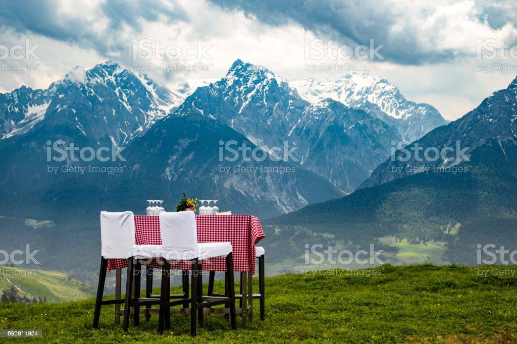 Invitation in the Alps stock photo