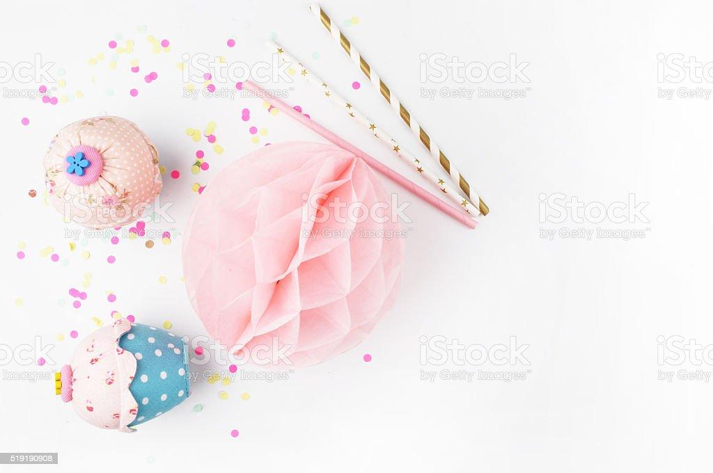 Invitation mockup. Confetti and muffins. cake stock photo