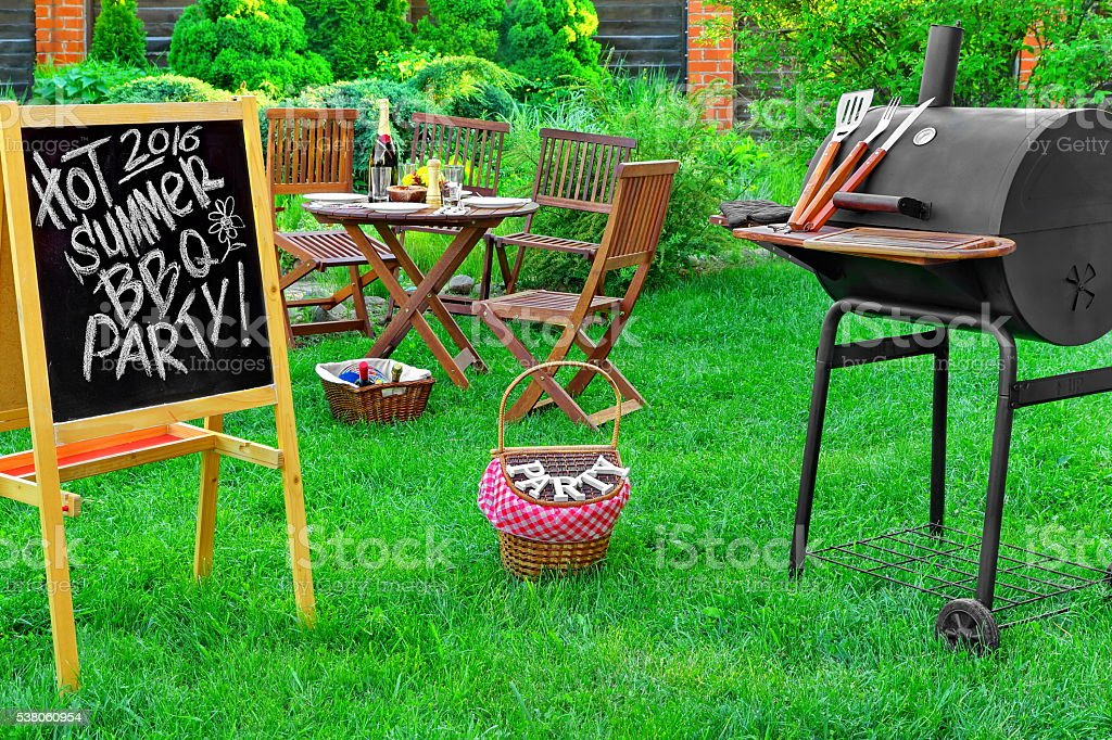 Invitation To A Barbecue Party, Written on Blackboard stock photo
