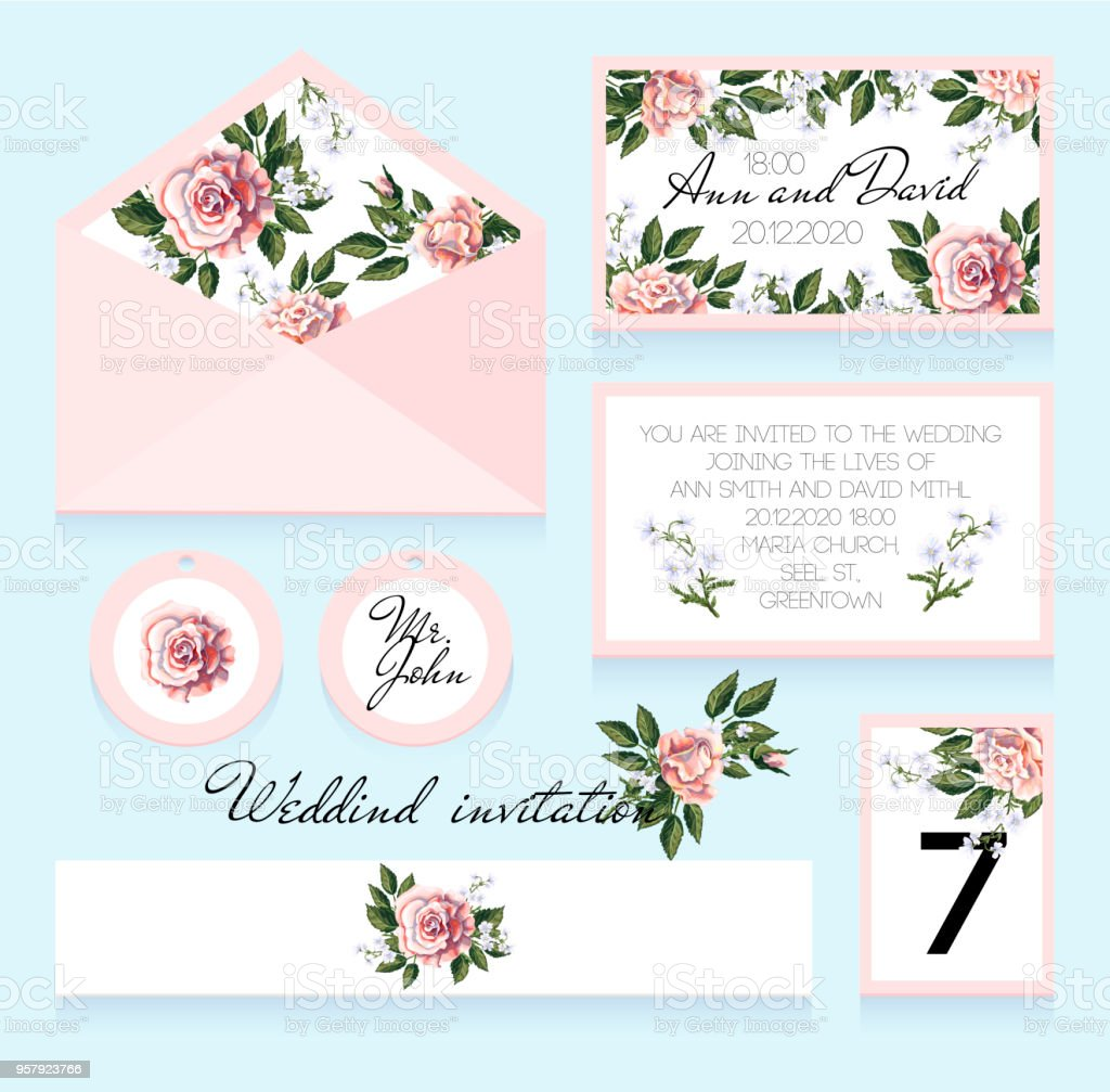 Invitation to the wedding, an envelope, a room number for a table and others. Design with roses in pastel colors. Vector illustration стоковое фото