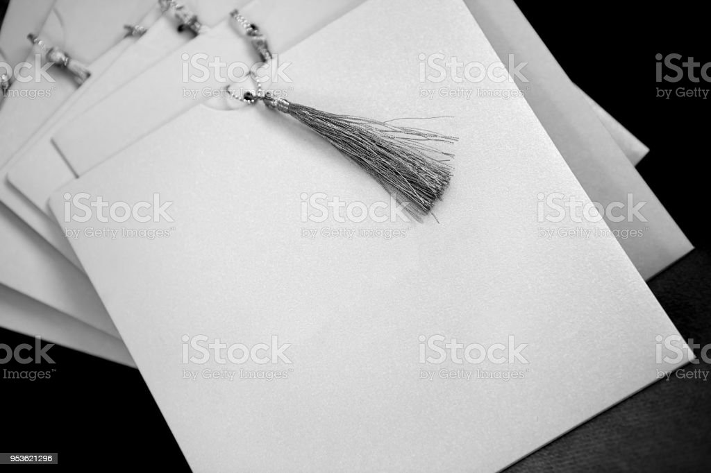 Invitation With Blank Note on Black Background stock photo
