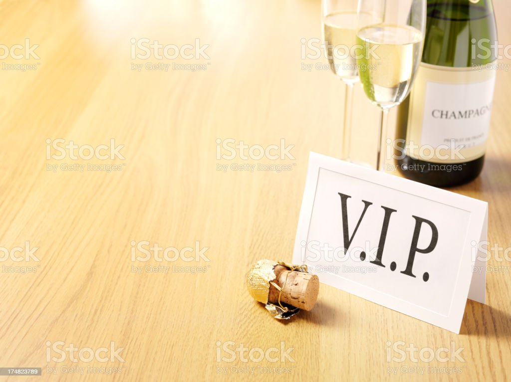 V.I.P. invitation with Champagne Glasses, Cork and Bottle royalty-free stock photo