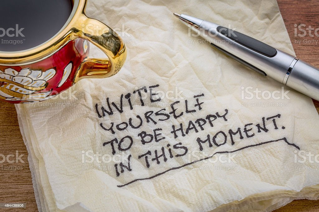 Invite yourself to be happy in this moment stock photo