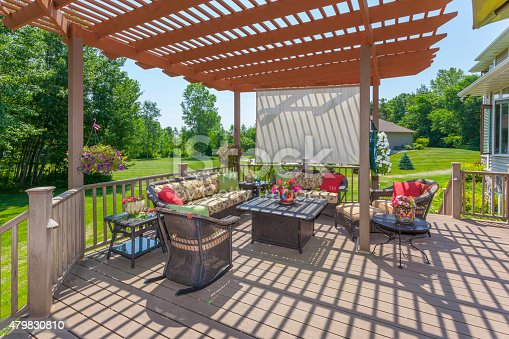 Inviting Backyard Patio Deck With Pergola