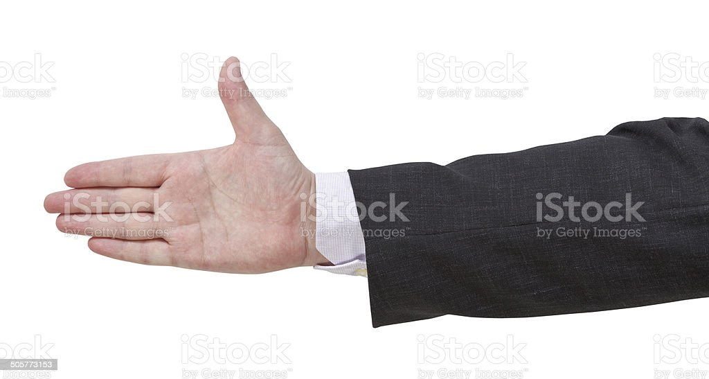 inviting by open palm - hand gesture stock photo