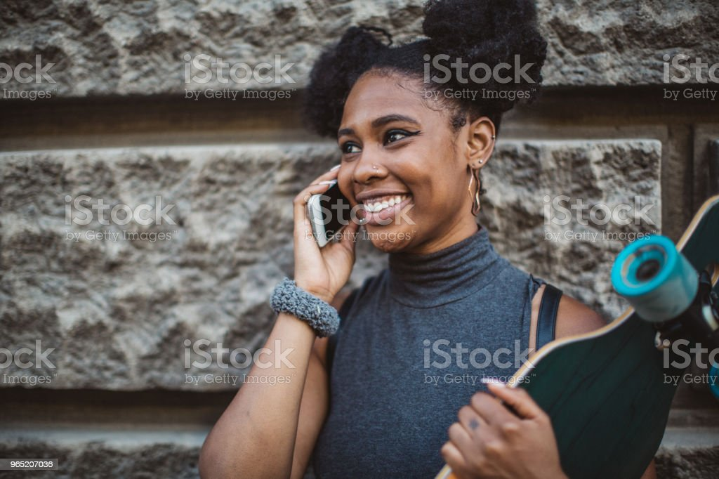 Inviting friends to join skating royalty-free stock photo