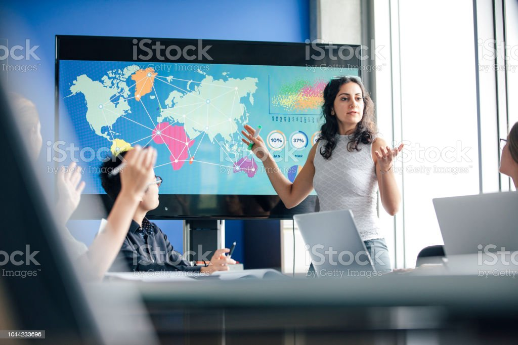 Inviting Questions, a True Leader. stock photo