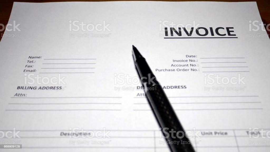 Invoice Form stock photo