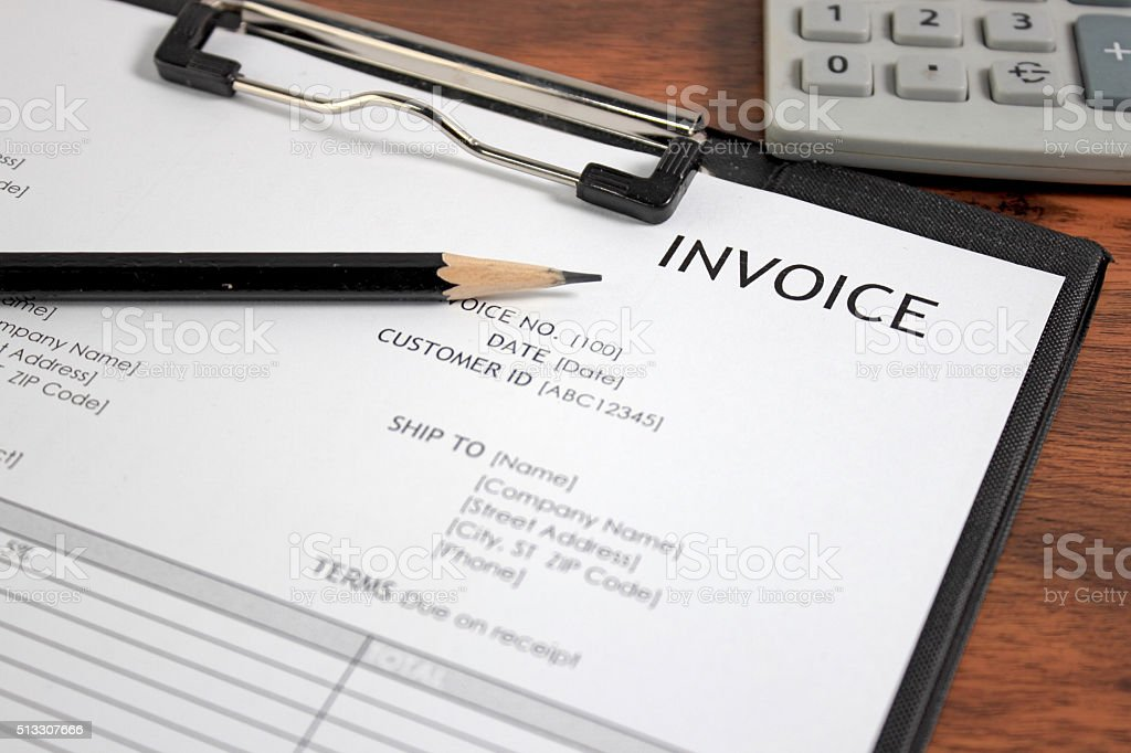 Invoice letter head stock photo