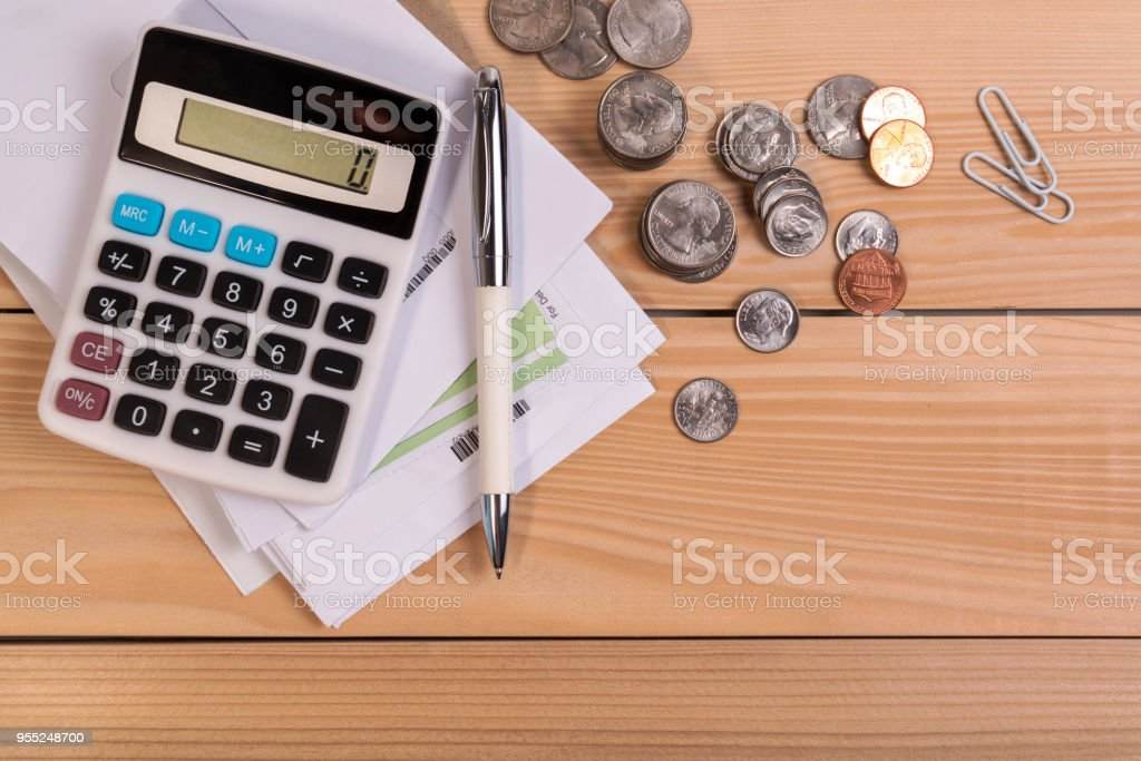 Invoice past due final notice letter from bank, check due date for payment, tax season, vendor of financial with deadline calendar. stock photo