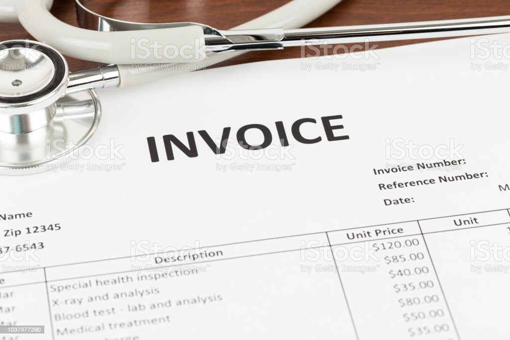 Invoice with stethoscope concept medical expense; document is mock-up
