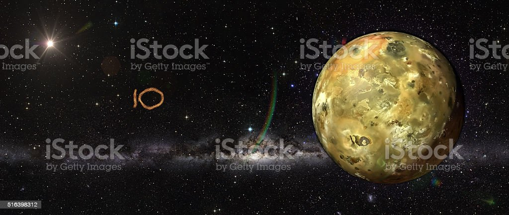 Io in outer space. stock photo