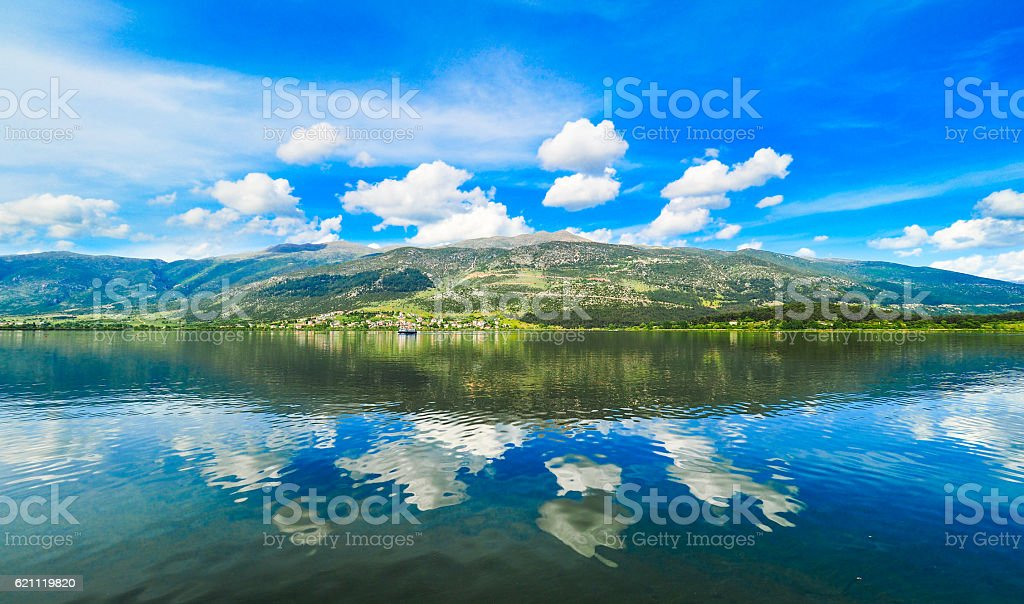 Ioannina lake Pamvotida in Epirus Region, Greece. Artistic panor stock photo
