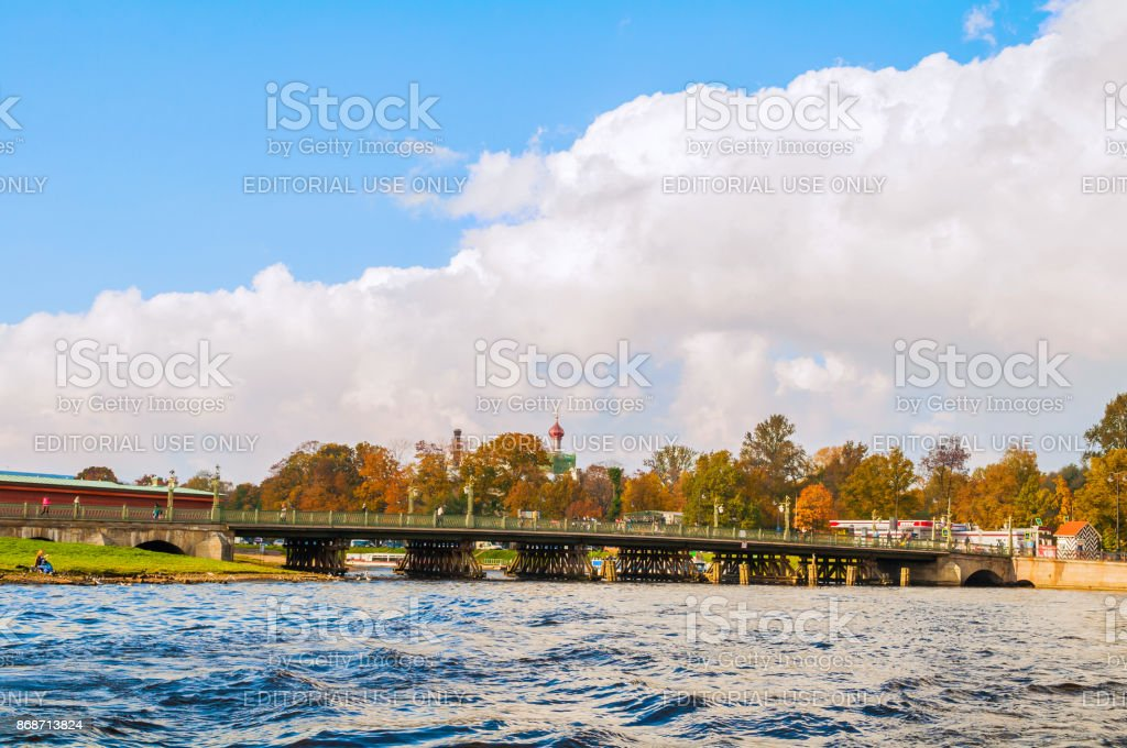 Ioannovsky bridge leading to the Peter and Paul fortress stock photo