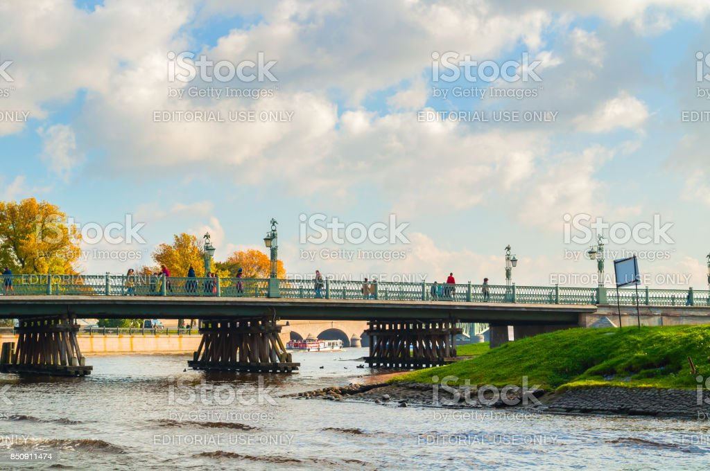 Ioannovsky bridge, Peter and Paul fortress in St Petersburg, Russia stock photo
