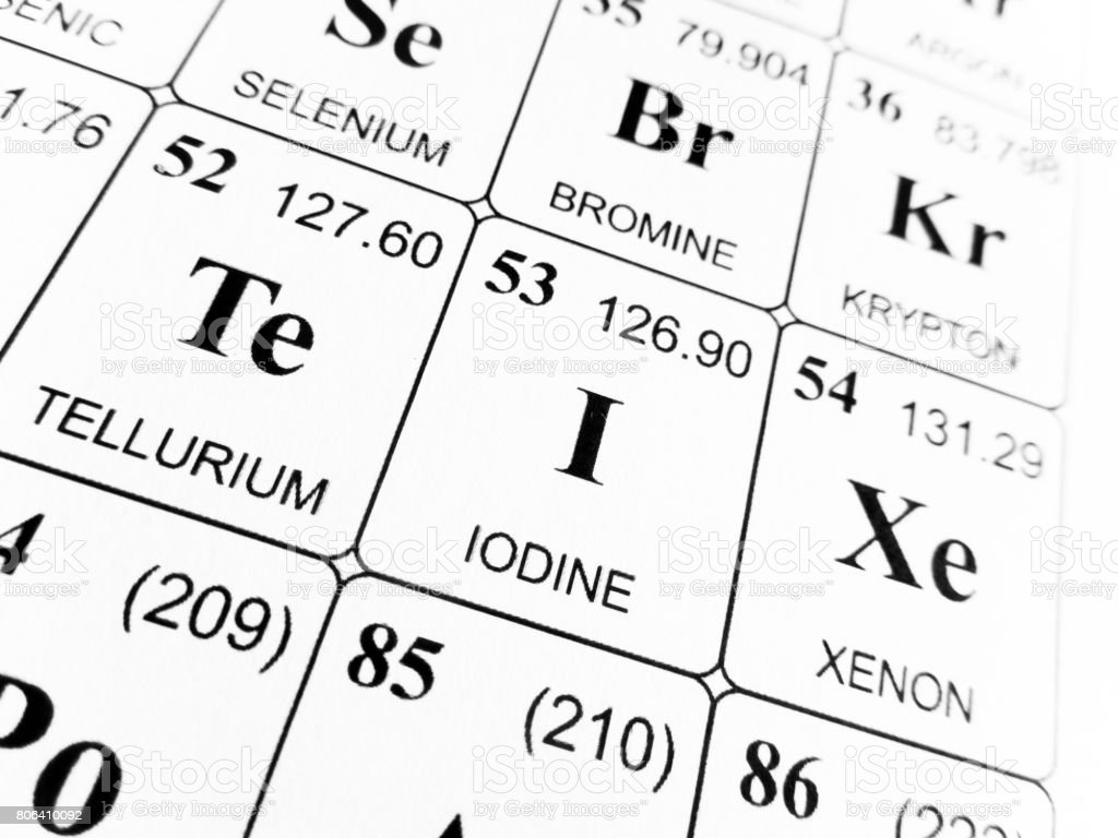 Iodine On The Periodic Table Of The Elements Stock Photo More