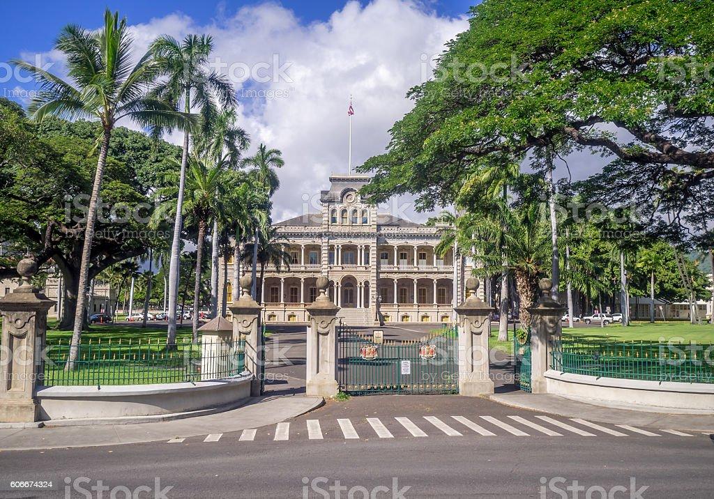 Iolani Palace in Honolulu Hawaii stock photo