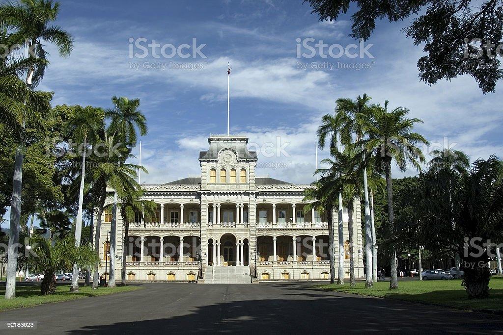 Iolani Palace in Honolulu stock photo