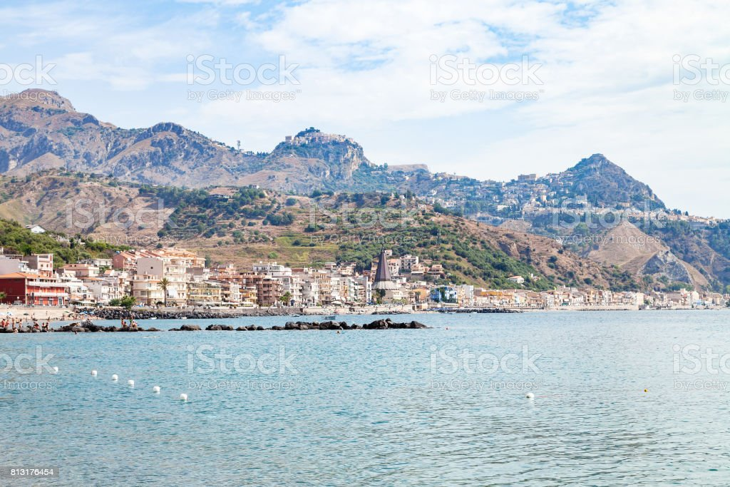 Ionian sea near waterfront of Giardini Naxos town stock photo