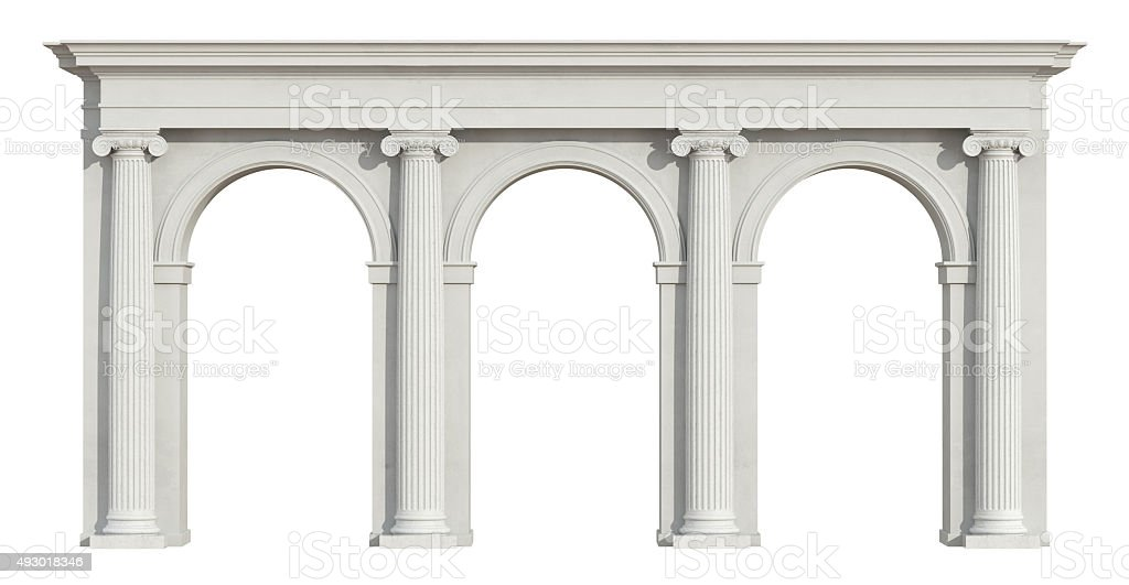 Ionic colonnade on white stock photo