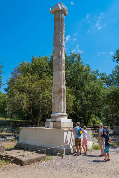 Ionic column of the echo portico (4th BC), famous building for its acoustics in the archaeological site of Olympia in Greece stock photo