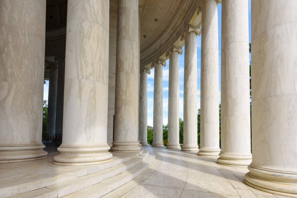 Ionic Columns at Jefferson Memorial, Washington DC Architecturel Ionic Columns at Jefferson Memorial, Washington DC Architecturel neo classical stock pictures, royalty-free photos & images