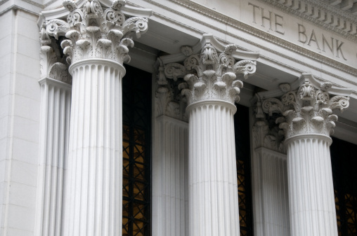Ionic columns of a bank building.