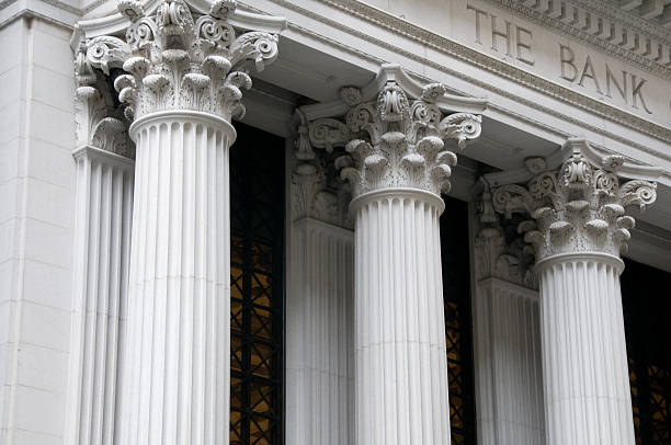 Ionic columns of a bank building Ionic columns of a bank building. public building stock pictures, royalty-free photos & images