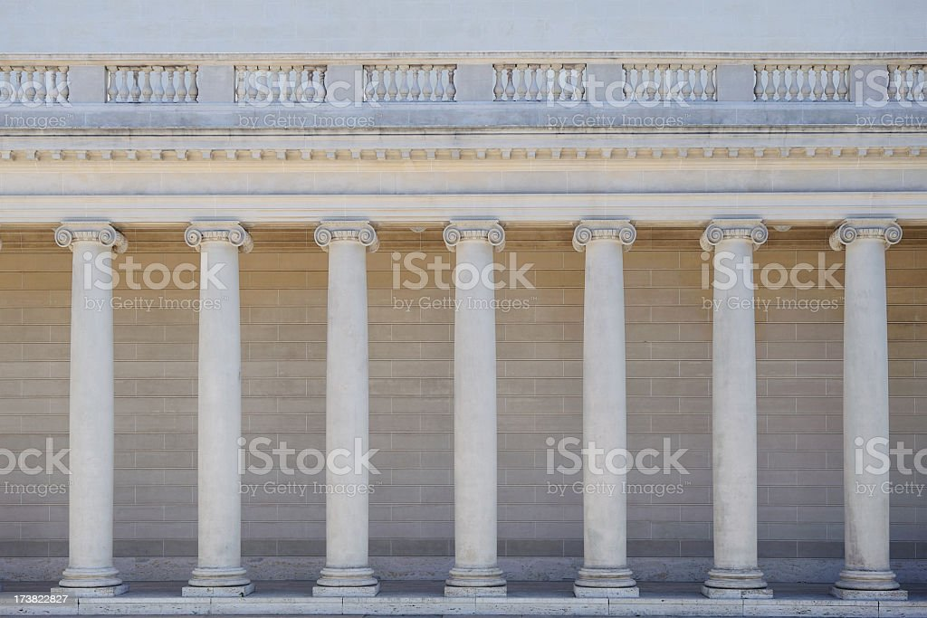 Ionic columns of a portico stock photo
