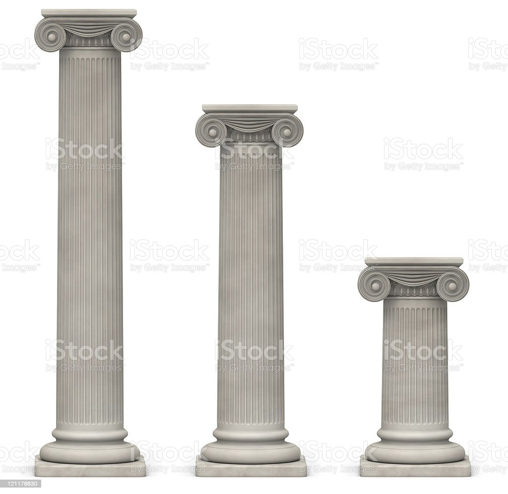 Ionic Columns on White stock photo