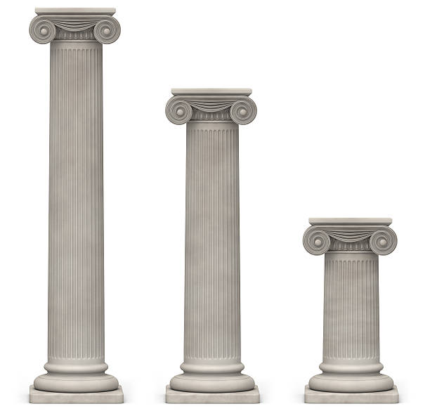 ionic columns on white - roman stock photos and pictures