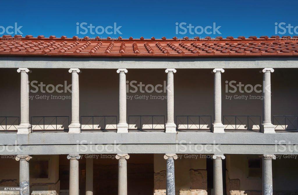 Ionic columns Roman building stock photo