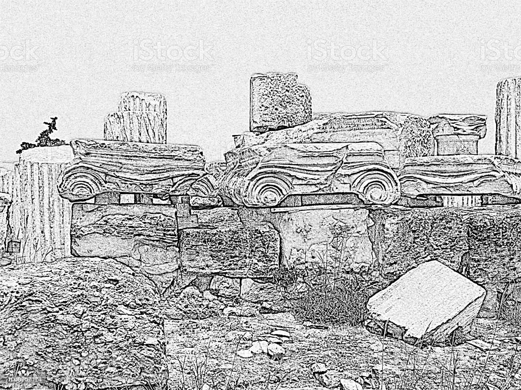 Ionic Order Ruined Decorative Parts Of Ancient Greek Columns The