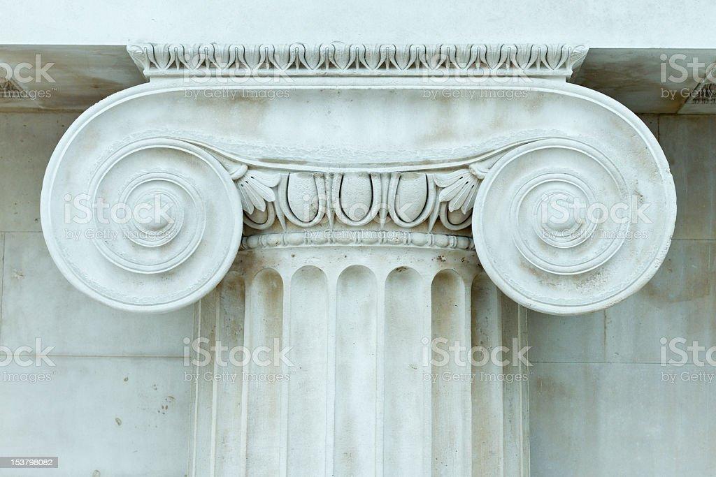 Ionic Pillar, Stone Wall royalty-free stock photo
