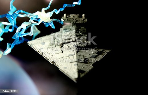 Vancouver, Canada - March 7, 2016: A Star Destroyer from the Star Wars film franchise, against a black background. The model was made for the Armada miniature game for Fantasy Flight Games.