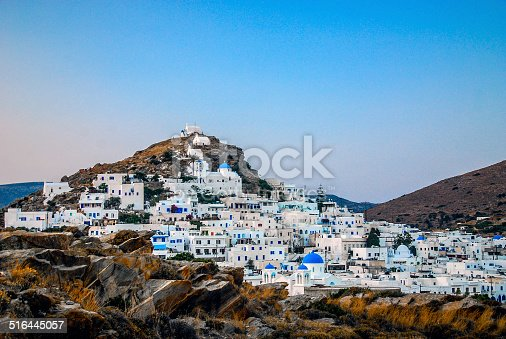 The main town of Hora on the Greek island of Ios.