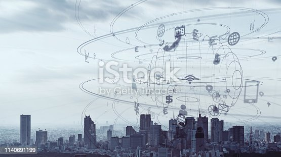 1129543866 istock photo IoT (Internet of Things) and smart city concept. 1140691199