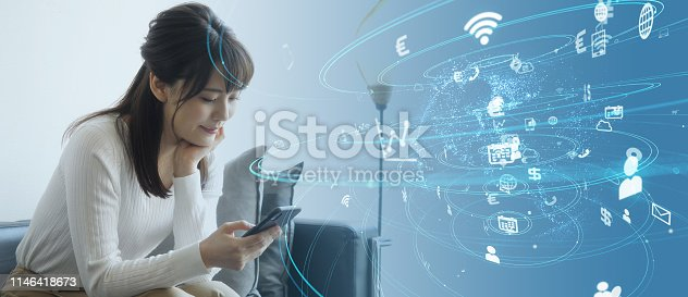 istock IoT (Internet of Things) concept. Communication network. 1146418673