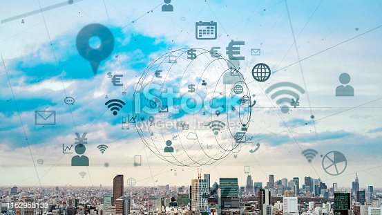 istock IoT (Internet of Things) concept. Communication network. 1152958133