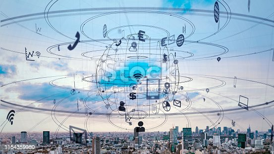 istock IoT (Internet of Things) concept. Communication network. 1154359980