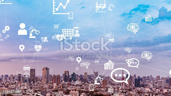 istock IoT (Internet of Things) concept. Communication network. 1154371681