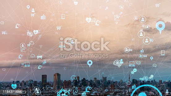 919564302istockphoto IoT (Internet of Things) concept. Communication network. 1154371685